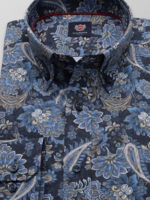 Granatowa taliowana koszula w kwieciste wzory