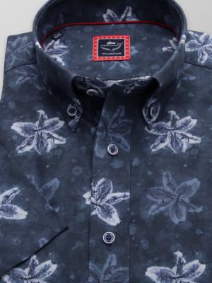 Granatowa taliowana koszula w kwiaty