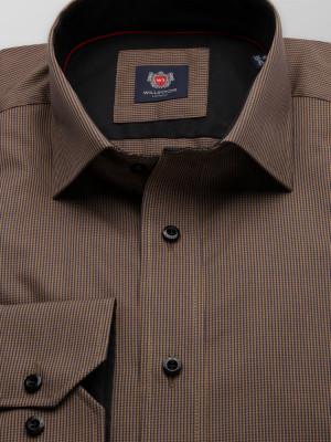 Brązowa taliowana koszula w pepitkę