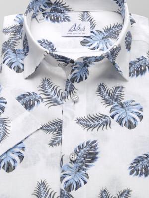 Biała taliowana koszula w liście