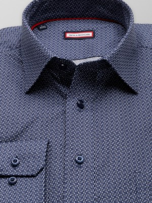 Granatowa taliowana koszula w geometryczny wzór