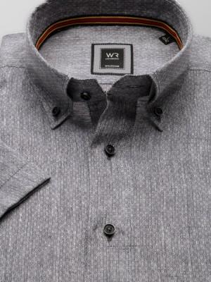 Szara lniana taliowana koszula