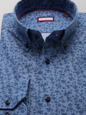 Niebieska taliowana koszula w kwieciste wzory