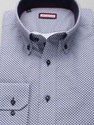 Biała taliowana koszula w granatowy wzór