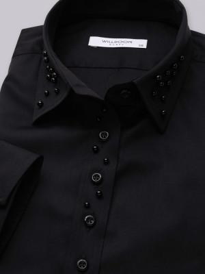 Czarna bluzka z perłami na kołnierzyku i plisie
