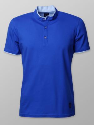 Modrakowa koszulka polo ze stójką