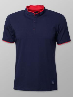 Granatowa koszulka polo ze stójką