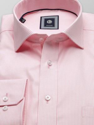 Biała klasyczna koszula w różową kratkę