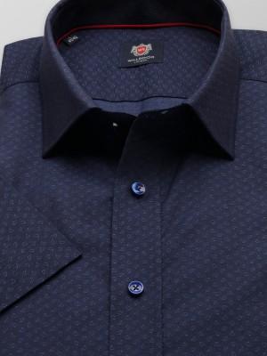 Granatowa taliowana koszula w błękitne łezki