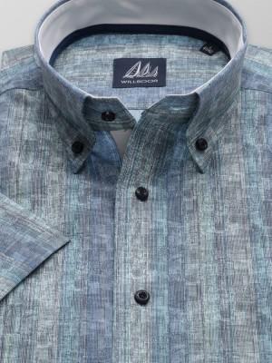 Niebiesko-turkusowa taliowana koszula