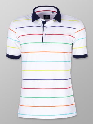 Biała koszulka polo w paski