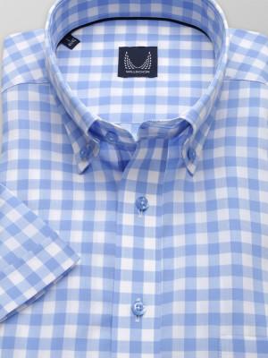 Taliowana koszula w błękitno-białą kratę vichy