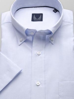 Błękitna klasyczna koszula w kratkę