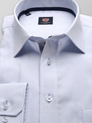 Biała klasyczna koszula w błękitną kratkę