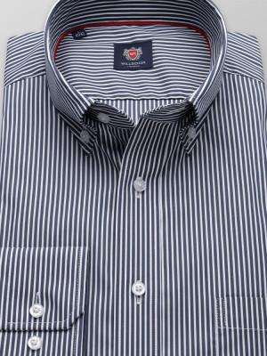 Granatowa klasyczna koszula w białe paski