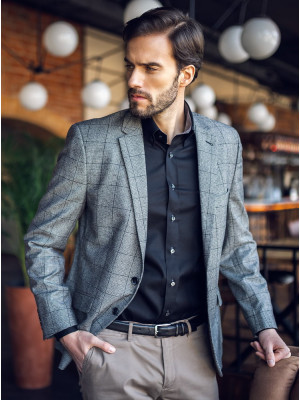 Czarna taliowana koszula z kontrastami
