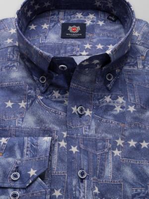 Niebieska taliowana koszula w gwiazdki