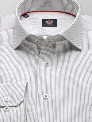 Biała klasyczna koszula w czarną kratkę