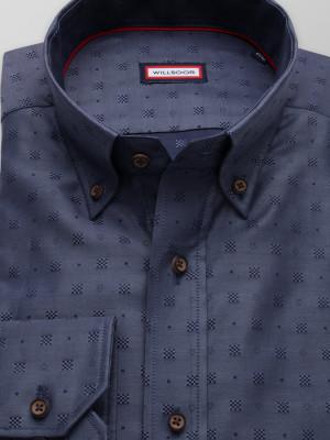 Granatowa taliowana koszula we wzory
