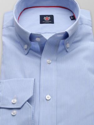 Błękitna taliowana koszula w białe prążki