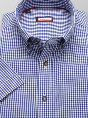 Taliowana koszula w granatowo-białą kratkę vichy