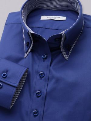 Granatowa bluzka typu long size z kontrastami