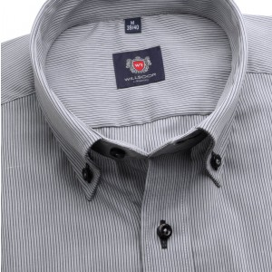 Szara taliowana koszula w prążki