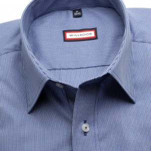 Niebieska taliowana koszula w kratkę