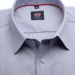 Popielata klasyczna koszula z prążek