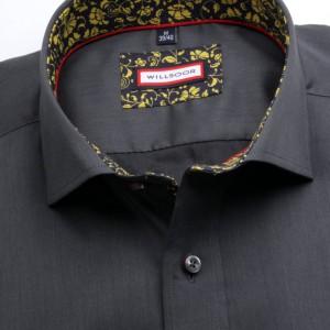 Grafitowa taliowana koszula z kontrastami