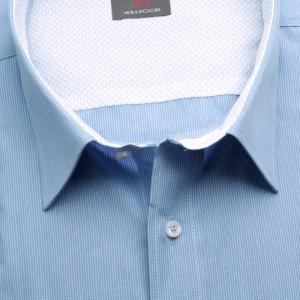 Klasyczna taliowana koszula w białą kratę