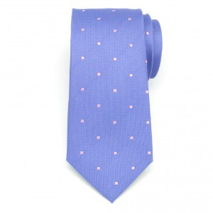 Niebieski jedwabny krawat w kropki