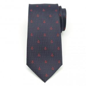 Granatowy jedwabny krawat w kropki i kotwice