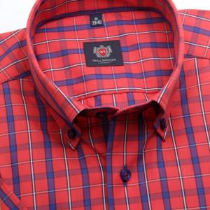 Czerwona taliowana koszula w kratę