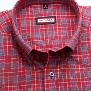Czerwona taliowana koszula w kratkę