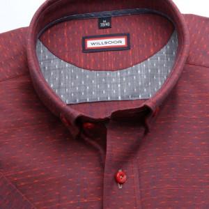 Czerwona taliowana koszula w kropki