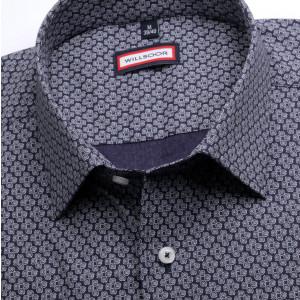 Granatowa taliowana koszula w spirale