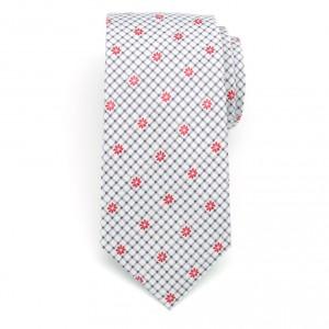Klasyczny biały krawat w kratkę i kwiaty