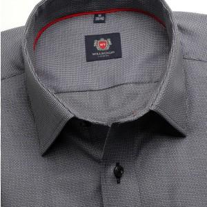 Grafitowa taliowana koszula w mikrowzór