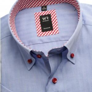 Niebieska taliowana koszula w jodełkę