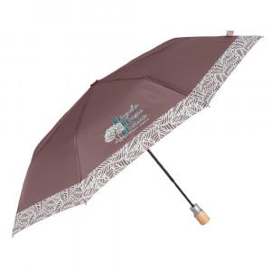 Brązowy parasol Perletti z wzorzystą obwódką