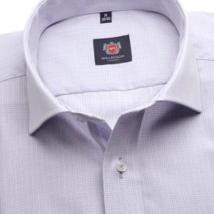 Jasnowrzosowa taliowana koszula w kratkę
