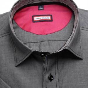 Szara taliowana koszula z pagonem