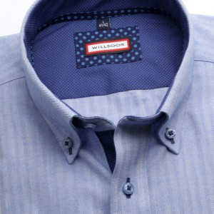 Błękitna klasyczna koszula w jodełkę