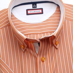 Pomarańczowa taliowana koszula w paski