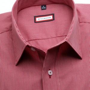 Bordowa taliowana koszula w kratkę