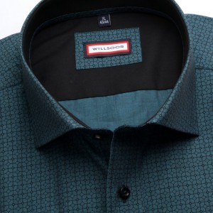 Turkusowa taliowana koszula z kontrastami