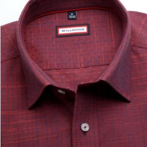 Bordowa taliowana koszula w kropki