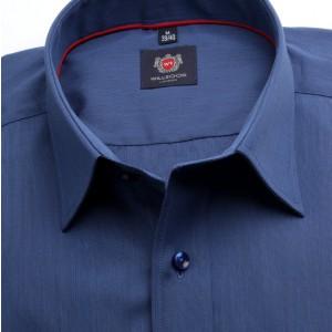 Granatowa taliowana koszula w prążek