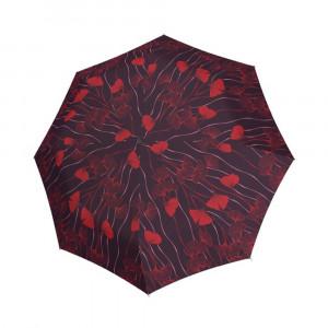 Bordowy parasol damski marki Doppler w czerwone kwiaty